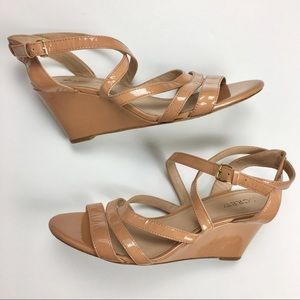 J. Crew Nude Patent Leather Strappy Wedge Sandals